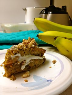 Sweet Potato Banana layer cake :) 1 sweet potato, 1 banana, 3 eggs, nuts, pinches of baking soda and powder, agave nectar. Bake at 375 for 40 minutes. Top with greek yogurt & honey, then layer with granola on top. Add cinnamon :)