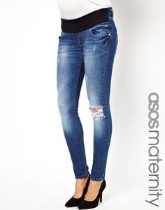 Image 1 ofASOS Maternity Skinny Dream Jean in Distressed Finish