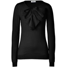 MOSCHINO Black Big Bow Embellished Wool Pullover ($605) ❤ liked on Polyvore