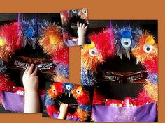 Interactive Monster Wreath.  Grab the candy bars and the teeth come out and the eyes open.  Tutorial!