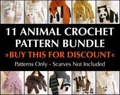 Digital PDF Crochet Pattern Bundle - 11 Crochet Patterns for Animal Scarves - DIY Fashion Tutorial - Instant Download via Etsy