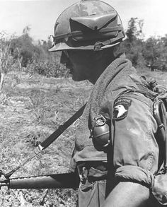 101st Airborne trooper on patrol with M16A1 during the Vietnam War, circa 1969