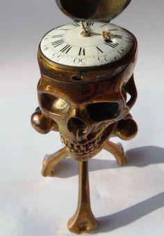 19th c. Memento Mori Desk Clock