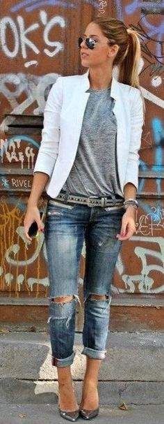 summer outfits White Blazer + Grey Tee + Ripped Jeans