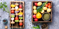 Summertime recipes for every BBQ! Eat the Rainbow: Vegetable Kebabs  Kebabs are possibly the most fun way to eat your veggies. A colorful and antioxidant-rich side to your meals, these kebabs are great as a main dish or as an enticing side.   GET THE RECIPE >> Vegetable Skewers, Veggie Kabobs, Veggie Vitamins, Skewer Appetizers, Marinated Mushrooms, Raw Vegetables, Veggies, Summer Side Dishes, Healthy Grilling
