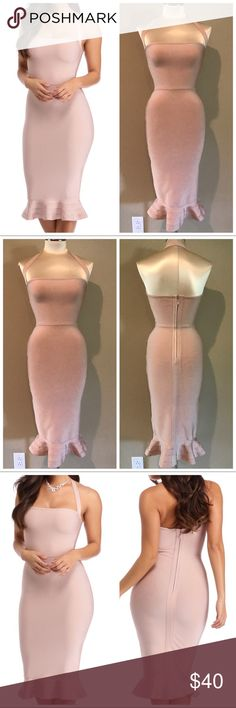 Light Pink Bandage Tea Midi Halter Dress Small Brand new with tags. Windsor brand. Size Small. Light pink color. Bandage material. Tulip hem. Midi length. Color is closer to the stock image, I do not have great lighting in my house. This dress is heavy, made with the real bandage fabric, not the cheap scratchy material. Please review photos and ask all questions before making offer or purchasing. Dresses Midi