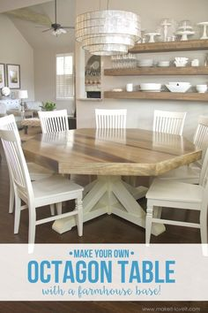 DIY Octagon Dining Room Tablewith A Farmhouse Base