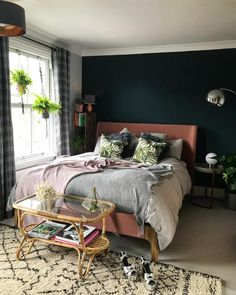 Beautiful botanical and dark blue bedroom with grey, blush and metallic accents. Calm and cosy bedroom space. Beautiful botanical and dark blue bedroom with grey, blush and metallic accents. Calm and cosy bedroom space. Teal Bedroom Accents, Dark Teal Bedroom, Pink Bedroom Decor, Cosy Bedroom, Bedroom Green, Bedroom Colors, Master Bedroom, Bedroom Ideas, Bedroom Neutral