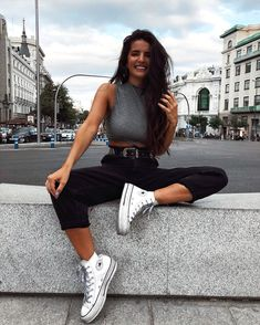 Which item would you add to your shopping list? Look Fashion, Teen Fashion, Fashion Outfits, Fashion Beauty, White Converse Outfits, Tumbrl Girls, Foto Casual, Photography Poses Women, Cute Casual Outfits