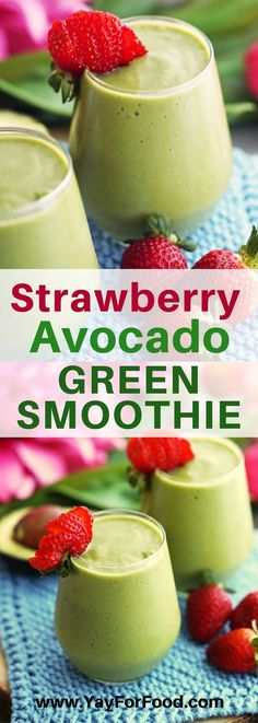 ***STRAWBERRY AVOCADO GREEN SMOOTHIE Creamy and delicious! This refreshing green smoothie features fresh strawberries and avocado that will give you a healthy energy boost for the day! #drinks | #smoothie | #healthyrecipes | #beverage | #breakfast | #snack | #avocado | #strawberries | #glutenfree | #vegan | #paleo