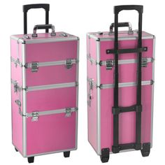 Pro Aluminum Rolling Makeup Case Salon Cosmetic Organizer Trolley - Aluminum trolley case pro rolling makeup cosmetic organizer