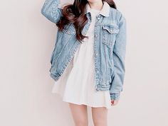 I like the combination of the denim jacket with a simple white dress.