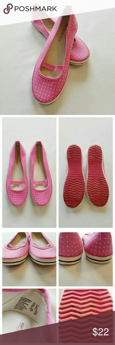 Montego Bay Club Pink with White Polka Dot Flats Pink Polka Dot flats from Montego Bay Club. Features elastic strap. Size 6.5 and in excellent condition   Discolorations to the bottom soles of the shoes as seen in photos and what looks like glue showing to the edges on the back of the shoes not noticeable unless looking up close. Small stain on one of the elastic straps. Montego Bay Club  Shoes Flats & Loafers