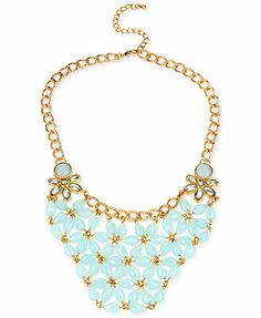 Haskell Gold-Tone Faceted Bead Linked Frontal Bib Necklace