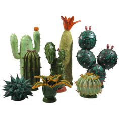 A set of eight Ceramic  cactus | From a unique collection of antique and modern ceramics at https://www.1stdibs.com/furniture/dining-entertaining/ceramics/