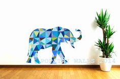 Kids Decor elephant wall decal with blue geometric pattern, animal wall decal, nursery wall decor, safari animal decal, baby registry