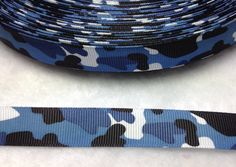 4 Yards of 5/8 Blue Military Camo Ribbon 5/8 by ribbonguru on Etsy, $3.25