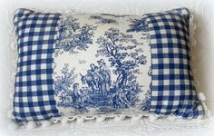 This beautiful handmade Country French style blue and white toile pillow features premium toile fabric and navy blue gingham fabric trimmed in ball fringe. This pillow would add a touch of elegance to any room. Each pillow is handmade to … Continued