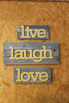 Live Laugh Love Recycled Upcycled Wall Decor Sign 3 Piece Art
