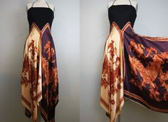 silk scarf dress/ paisley print/ hankie by GidgetteBardot. Two scarves, sew them together onto a black tank top. Diy Clothing, Sewing Clothes, Moda Crochet, Scarf Dress, Diy Dress, Prom Dress, Altered Couture, Mode Vintage, Mode Inspiration