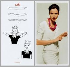 Pretty Portobello: 24 ways to tie a scarf - Hermes knotting cards Ways To Tie Scarves, How To Wear Scarves, Turbans, Bandana, Scarf Knots, Scarf Necklace, Hermes Necklace, Scarf Top, Travel Wardrobe
