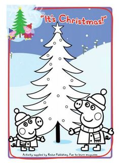 get in the christmas spirit with this peppa pig coloring page