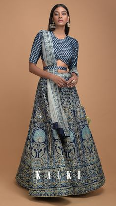 THE HERITAGE SERIES Dynamic hues of blue and silver along with tons of traditional gleam, this foil wedding design defi Ethnic Fashion, Modern Fashion, Hijab Fashion, Indian Fashion, Pakistani Outfits, Indian Outfits, Indian Clothes, Lengha Choli, Sarees