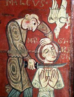 ( - p.mc.n.) The Martyrdom of St. Margaret of Antioch, altar frontal from the Convent of Santa Margarida de Vilaseca, Spanish School, 12th century