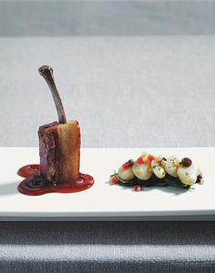 """Pork-Belly """"Chop"""" with Giant White Bean Ragout from Try This At Hom..."""