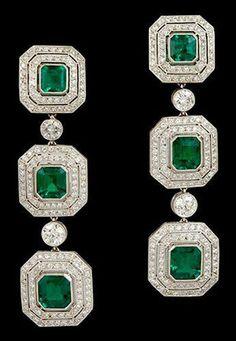 Earring Solid 925 Sterling Silver Green Asscher Halo Long Dangle Jewelry Women* #NIKI #DropDangle