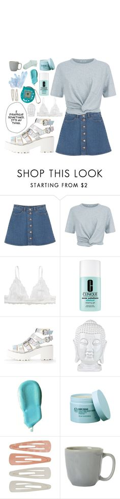 """""""stop the time"""" by kayleeinfinity ❤ liked on Polyvore featuring Monki, T By Alexander Wang, Clinique, Benefit, The Body Shop, Forever 21 and Juliska"""