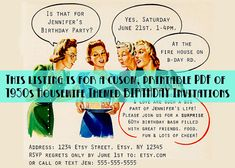 3f68e6376c9 Custom 1950s Housewife Themed Birthday Party Invitations - PDF File to  Print Your Own - Happy