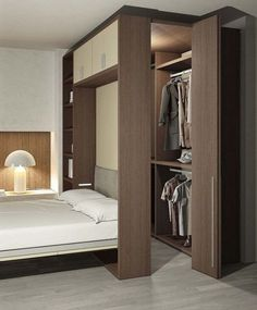 Creative Bedroom Wardrobe Design Ideas That Inspire On - kreative schlafzimmer kleiderschrank design-ideen, die inspirieren Creative Bedroom Wardrobe Design Ideas That Inspire On Wardrobe Design Bedroom, Master Bedroom Closet, Home Bedroom, Bed In Closet, Master Suite, Bedroom Decor, Bedroom Bed Design, Bedroom Furniture Design, Small Bedroom With Wardrobe