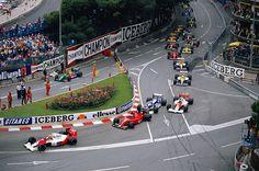 The start of the 1990 Monaco Grand Prix, held on the streets of Monte Carlo Alain Prost, Honda, Monte Carlo, Le Mans, Formula 1, Gerhard Berger, Champion, Slot Car Tracks, Race Tracks