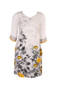 W- White Floral Printed Kurta In Shantung Fabric; V Neck; Quarter Sleeve & Sequin Embellishment; 37 Inches In Length