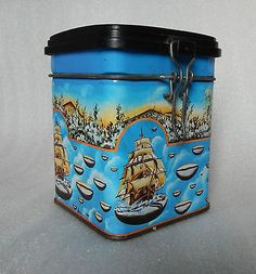 VINTAGE 1960s French Surrealist Coffee Container Tin with Plastic lid retro