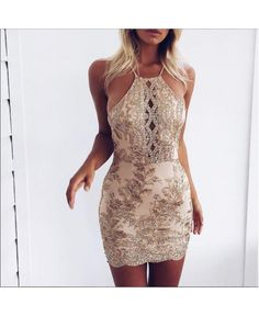 BLOSSOM IN GOLD  Gold Lace over Nude Underlay  Bodycon Mini Dress with Lace Up Back