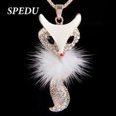 Fox Necklace Zinc Alloy Black Choker Necklace White Pendant