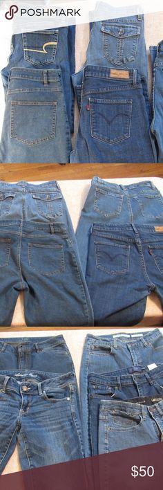"5 pairs American Eagle Levis J. Jill Jeans Pants Lot of 5 Pairs of size 6 Petite Pants Jeans  1. J.Jill size 6 inseam 27""  2. American Eagle size 6 inseam 27""  3. Jones New York Jeans size 6 inseam 25"" 4. Levis Demi Curve Classic boot Cut size 6 inseam 27"" 5. Lee Comfort Waist Band size 6 inseam 27"" American Eagle Outfitters Jeans"