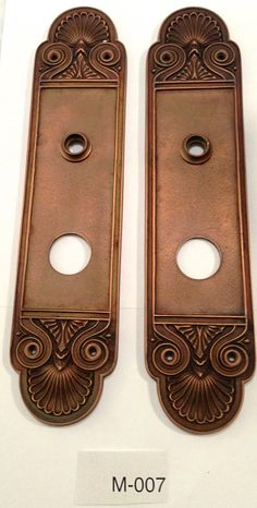 SALE! 1 PAIR Estate Antique Tall Door Plates. Hand forged in solid brass and coated in Antique Copper. VINTAGE