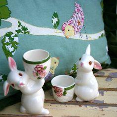 Vintage Avon Ceramic Easter Bunny Votive Candle Holders