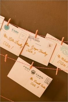Vintage postcard escort cards. #escortcards #vintage #weddingchicks Captured By: Rodeo & Co Photography ---> http://www.weddingchicks.com/2014/04/28/reveal-your-babys-gender-with-this-cute-wedding-idea/