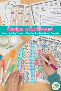 Simple & easy surfboard drawing art game for kids. Summer Art Projects, Summer Crafts For Kids, Easy Art Projects, Projects For Kids, Art Games For Kids, Art Lessons For Kids, Art Lessons Elementary, Drawing Activities, Drawing Games