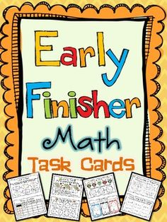 Math Task Cards for Early Finishers. Engage and Challenge your early finishers with these twenty details, multi-problem Early Finisher task cards! Your students will love completing these cards when they have finished their work or as extra enrichment. Math Stations, Math Centers, Math Resources, Math Activities, Math Early Finishers, Fast Finishers, Math Task Cards, First Grade Math, Second Grade