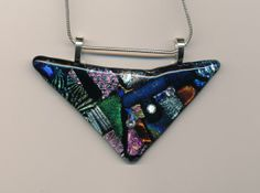 Fused Dichroic Glass Pendant by Glassfuser on Etsy, $30.00