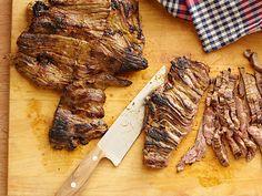 Try Tyler Florence's Tacos Carne Asada recipe from Food Network: His citrusy green mojo marinade gives flank steak a real kick. Sirloin Steak Recipes, Skirt Steak Recipes, Grilled Steak Recipes, Sirloin Steaks, Grilled Meat, Roast Brisket, Beef Tenderloin, Beef Jerky, Pork Roast