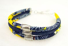 Yellow and blue Ankara and Jean choker Silver by ETurnerCouture