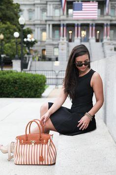 | @JustFab bag | Theory Dress |  District Dress Up