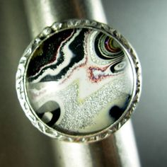 """Harley Davidson paint agate """"fordite"""" crystal doublet sterling silver ring * comfortable band * silversmith Chelle' Rawlsky approx. 8.75 by AnniPearls on Etsy"""