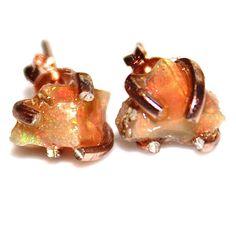 Raw Opal Stud Earrings Organic Earring Orange Opal by FizzCandy